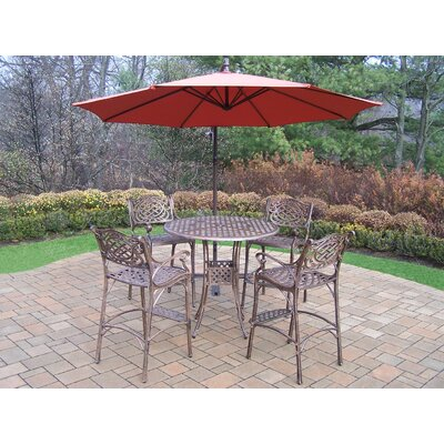 Thelma 5 Piece Metal Bar Set Umbrella Color: Burgundy