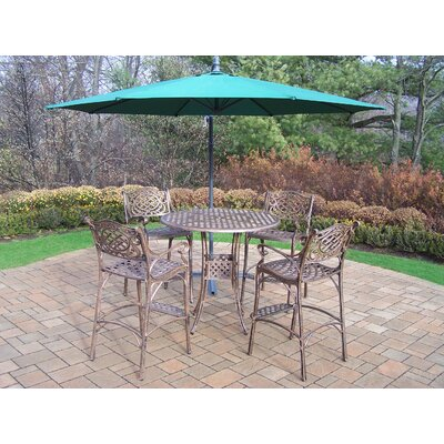 Thelma 5 Piece Metal Bar Set Umbrella Color: Green
