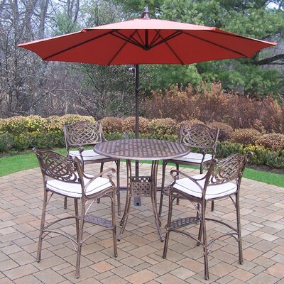 Thelma 5 Piece Traditional Bar Set with Cushions Umbrella Color: Burgundy