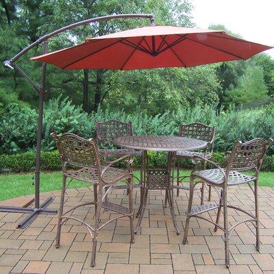 Thelma Cast Aluminum 6 Piece Bar Set with Cantilever Umbrella