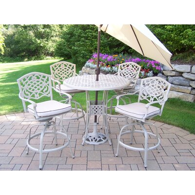 Thelma 6 Piece Bar Set with Cushions and Umbrella Umbrella Color: Beige, Finish: Beach Sand