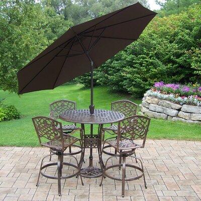 Claremont 6 Piece Bar Set with Cushions and Umbrella Finish: Antique Bronze, Umbrella Color: Beige