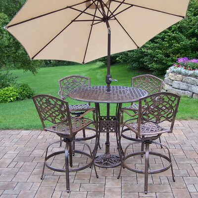 Thelma 6 Piece Bar Set with Umbrella Finish: Antique Bronze, Umbrella Color: Brown