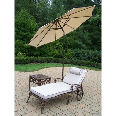 Thelma 3 Piece Metal Chaise Lounge Set with Cushions Umbrella Color: Beige