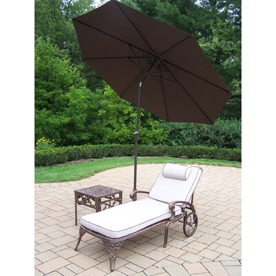 Thelma 3 Piece Metal Chaise Lounge Set with Cushions Umbrella Color: Brown
