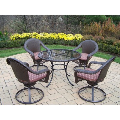 Kingsmill 5 Piece Dining Set with Cushions Cushion Color: Brown