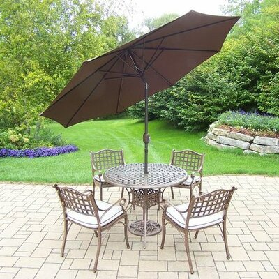 Claremont 5 Piece Dining Set with Cushions Cushion Color: Oak Meal, Umbrella Color: Brown