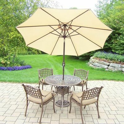 Thelma 5 Piece Dining Set with Cushions Umbrella Color: Beige, Cushion Color: Oak Meal