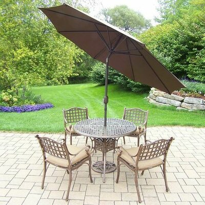 Thelma 5 Piece Dining Set with Cushions Cushion Color: Oak Meal, Umbrella Color: Brown