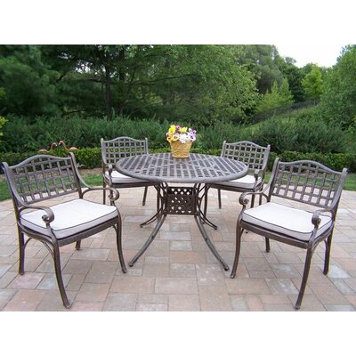 Claremont 5 Piece Dining Set with Cushions Cushion Color: Oak Meal