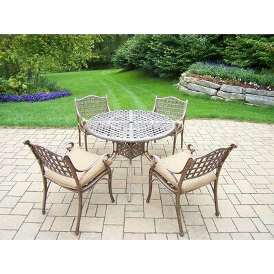 Claremont 5 Piece Dining Set with Cushions Cushion Color: Sunbrella Spunpoly