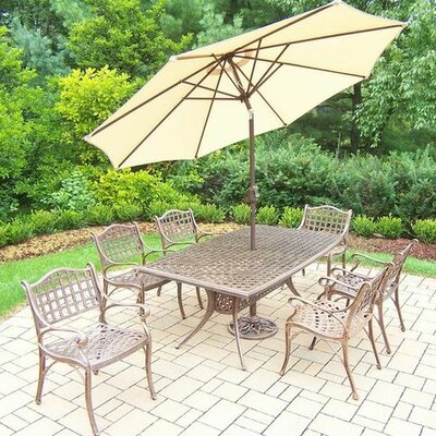Claremont 7 Piece Dining Set Umbrella Color: Beige