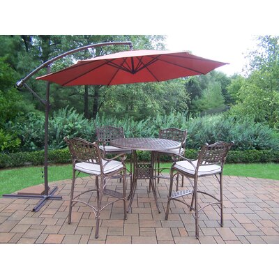 Thelma 5 Piece Bar Set with Cushions Umbrella Color: Burgundy
