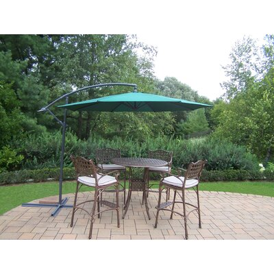 Thelma 5 Piece Bar Set with Cushions Umbrella Color: Green