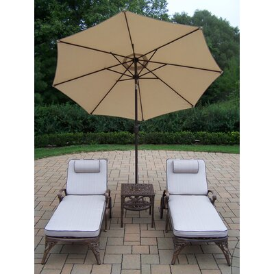 Thelma 4 Piece Metal Chaise Lounge Set with Cushions Umbrella Color: Beige