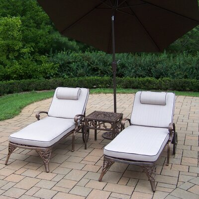 Thelma 4 Piece Metal Chaise Lounge Set with Cushions Umbrella Color: Brown