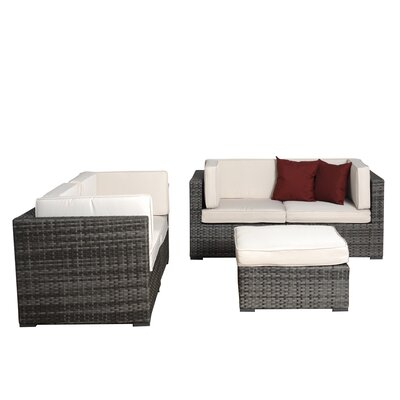 Aquia Creek 5 Piece Deep Seating Group with Cushions Fabric: Off-White, Finish: Grey