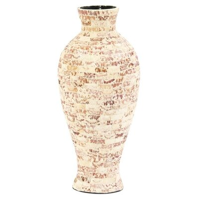 Natural Seashells Tapered Ceramic Jar Floor Vase