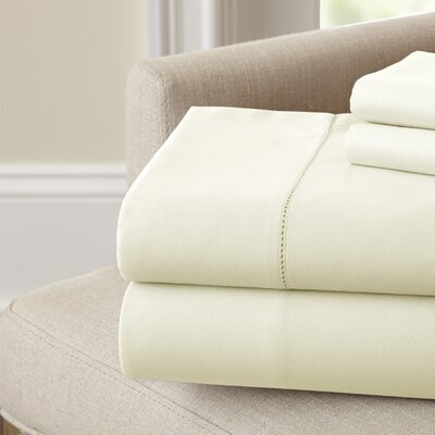 Holmes 400 Thread Count Cotton Sheet Set Color: Ivory, Size: Full