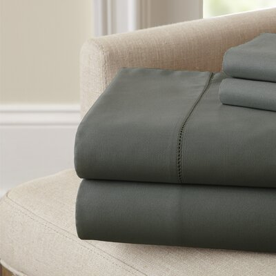 Holmes 400 Thread Count Cotton Sheet Set Size: Queen, Color: Charcoal