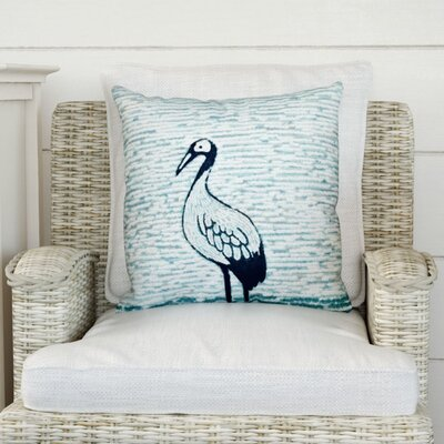 Beach Vacation Bird Watch Animal Print Throw Pillow Size: 20 H x 20 W, Color: Aqua