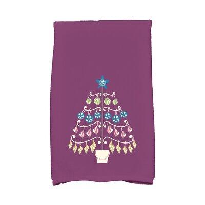 Coastal Christmas Beach Tree Hand Towel Color: Purple