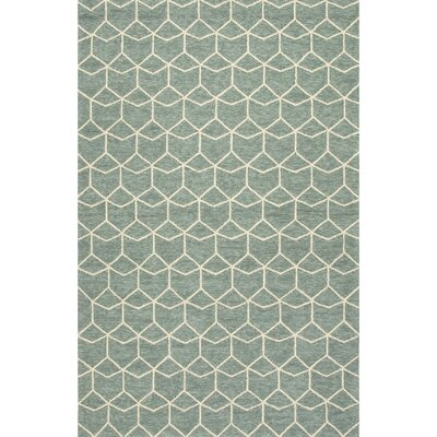 Wells Blue/Ivory Geometric Indoor/Outdoor Area Rug Rug Size: 36 x 56