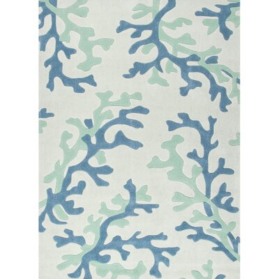 Parkmont Ivory & Blue Area Rug Rug Size: Rectangle 9 x 12