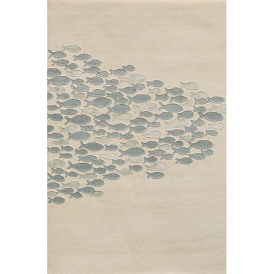 Jacques Ivory & Blue Area Rug Rug Size: 2 x 3