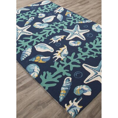 Ismene Hand Hooked Blue/Ivory Indoor/Outdoor Area Rug Rug Size: Rectangle 76 x 96