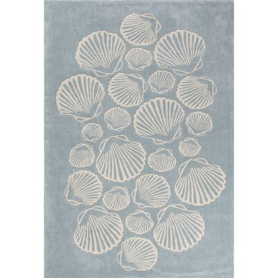 Boule Hand-Tufted Blue/Ivory Area Rug Rug Size: 5 x 76