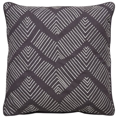 Bouchard Stitched Chevron Pattern Cotton Throw Pillow Color: Grey / Ivory