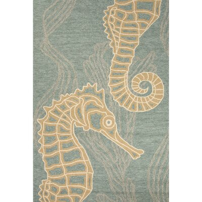 Esker Blue/Tan Indoor/Outdoor Area Rug Rug Size: 36 x 56