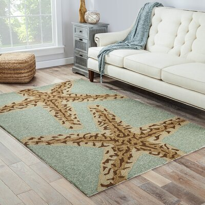 Osprey Hand-Hooked Blue Lake Indoor/Outdoor Area Rug Rug Size: 36 x 56