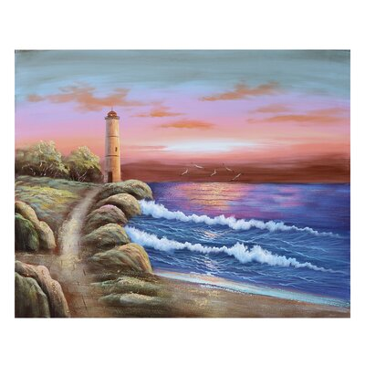 'Light House 2' Painting Print on Canvas ROHE3677 40834187
