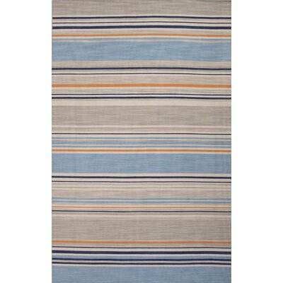 Everalda�Blue/Orange Stripe Area Rug Rug Size: Rectangle 8 x 10