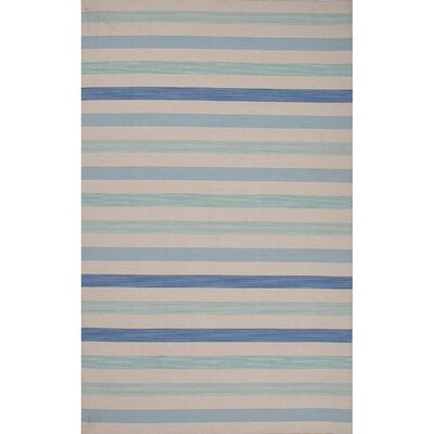 Everalda�Wool Flat Weave Blue Area Rug Rug Size: 5 x 8