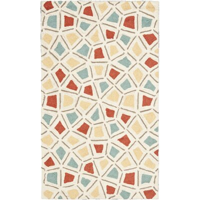 Spring Wheel Beige/Red Area Rug Rug Size: 26 x 43