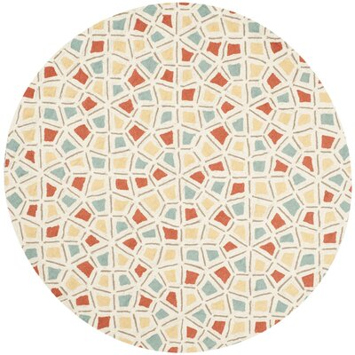 Spring Wheel Beige/Red Area Rug Rug Size: Round 6