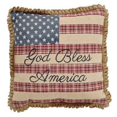Ariya God Bless America Flag 100% Cotton Throw Pillow