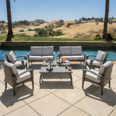 Farrow 8 Piece Lounge Seating Group with Cushions Finish: Grey