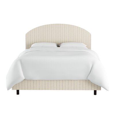 poulin curved cotton upholstered panel bed size