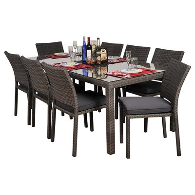 Aquia Creek 7 Piece Dining Set Cushion Color: Gray