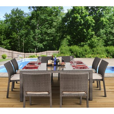 Aquia Creek 9 Piece Dining Set Cushion Color: Off White