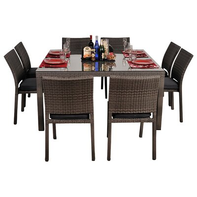 Aquia Creek 9 Piece Dining Set Cushion Color: Gray