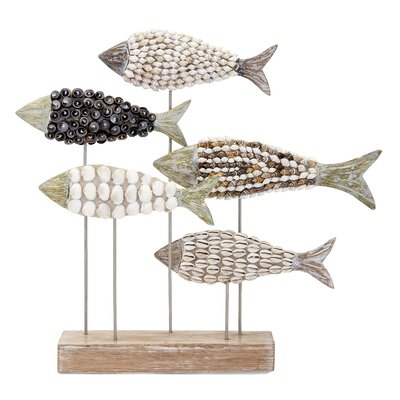 Mosaic Shell Fish Figurine