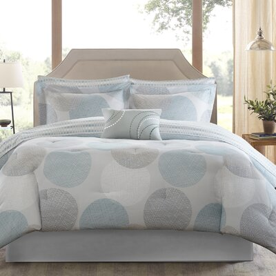 Waveside Comforter Set Size: Full, Color: Aqua/Gray