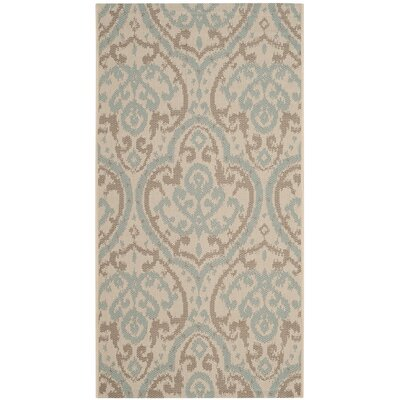 Adelaide Beige/Aqua Area Rug Rug Size: Rectangle 53 x 77