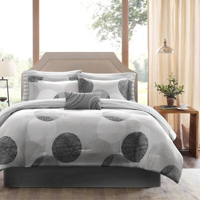 Waveside Comforter Set Size: Queen, Color: Gray/Black
