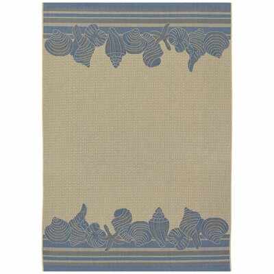 Rundell Cream/Blue Indoor/Outdoor Area Rug Rug Size: 37 x 55